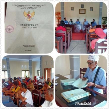BPN Bagikan Sertifikat Tanah Kepada Warga Desa Pengulon, Kec. Gerokgak, Kab. Buleleng, Bali