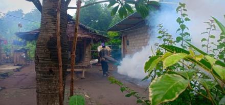 Cegah DBD, Pemerintah Desa Pengulon Lakukan Fogging di Jalan Garuda ( Gang Cendrawasih )