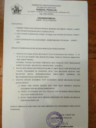 INFORMASI KEPADA SELURUH MASYARAKAT DESA PENGULON
