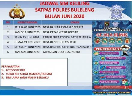 JADWAL SIM KELILING DI BULAN JUNI TAHUN 2020